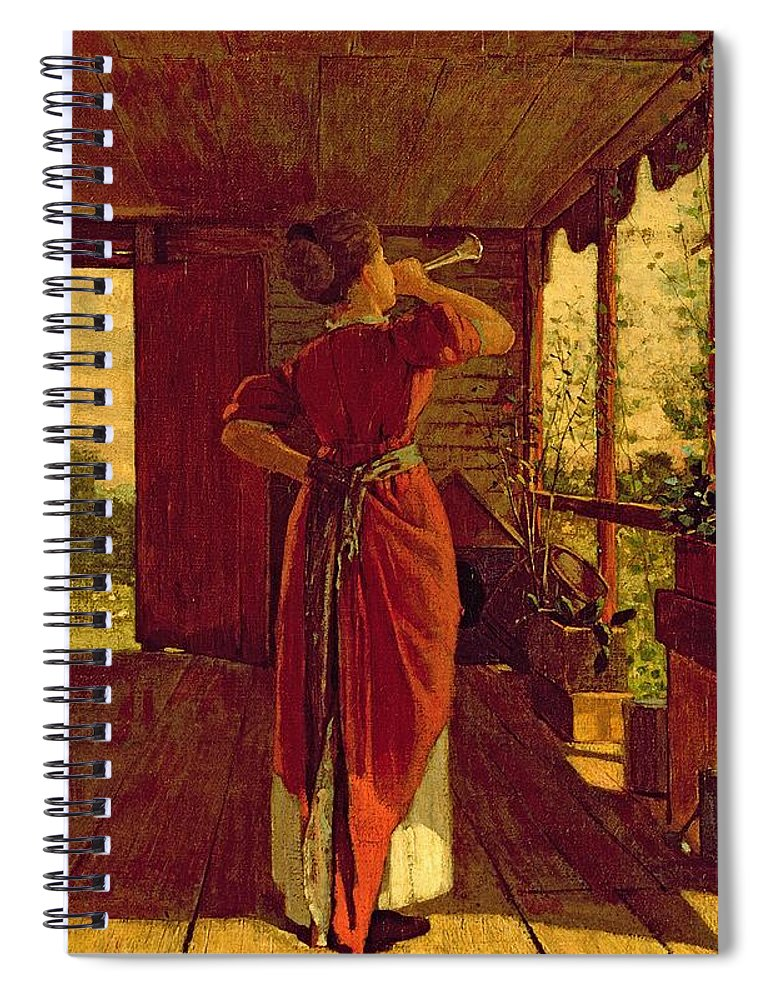 Dinner Spiral Notebook featuring the painting The Dinner Horn by Winslow Homer