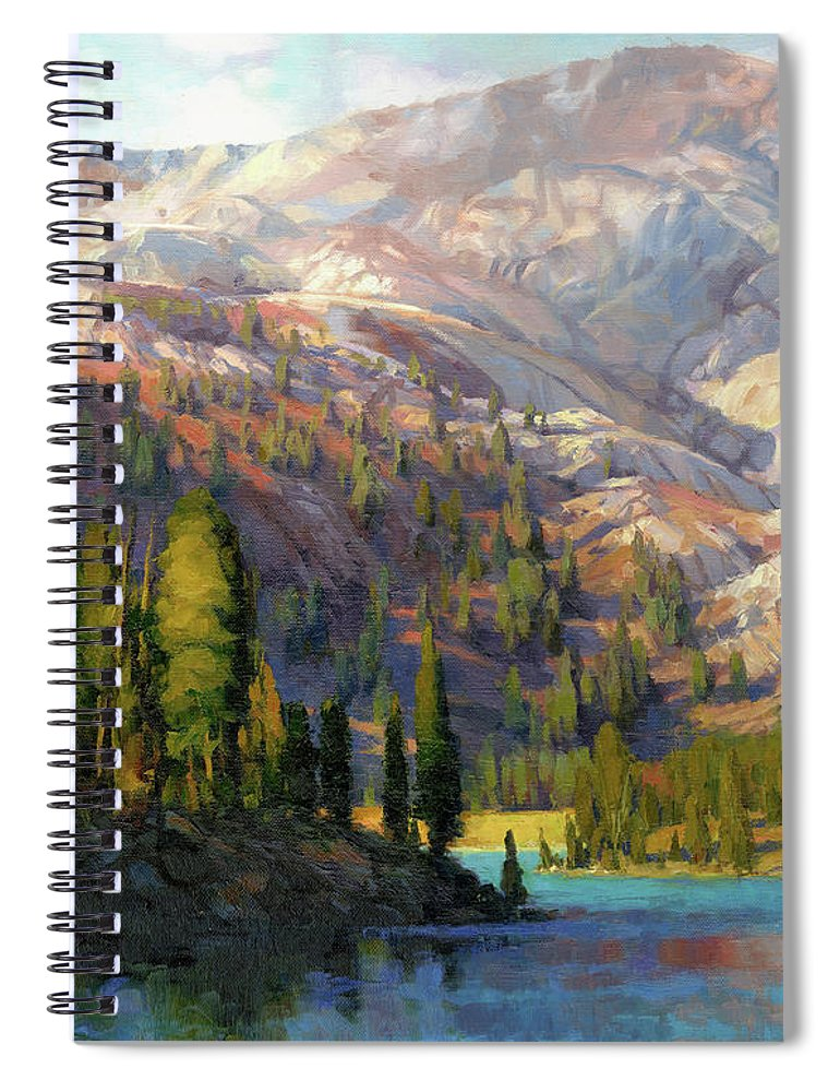Mountain Spiral Notebook featuring the painting The Divide by Steve Henderson