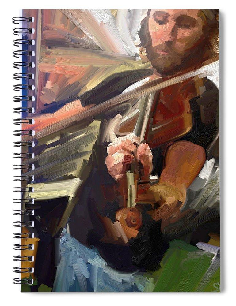 Art Spiral Notebook featuring the digital art The Fiddler by Scott Waters