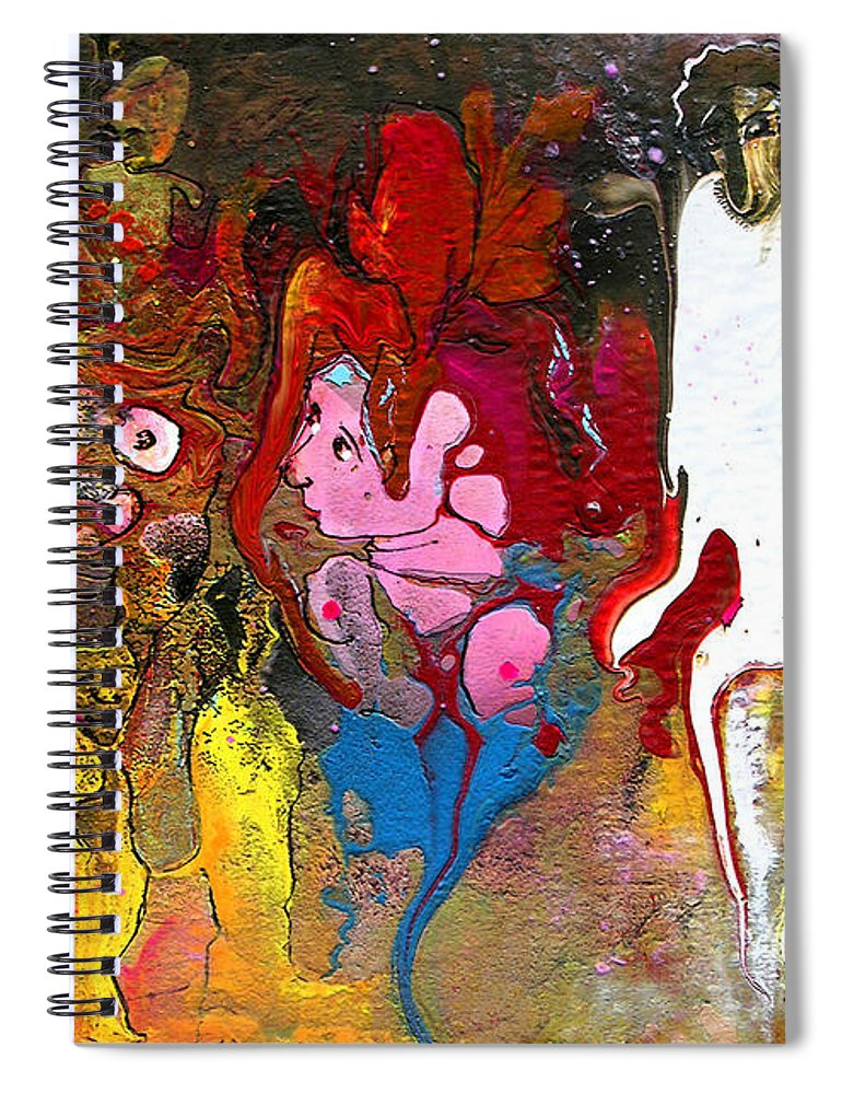 Miki Spiral Notebook featuring the painting The First Wedding by Miki De Goodaboom