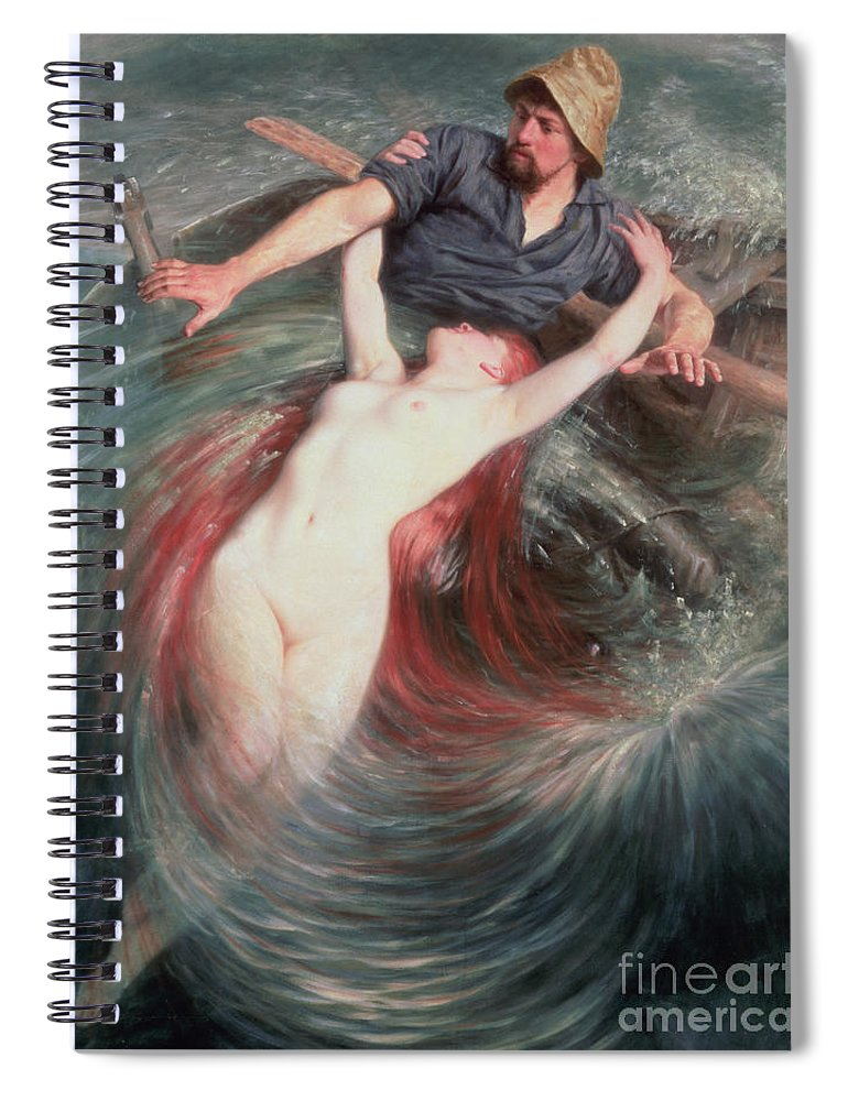 The Spiral Notebook featuring the painting The Fisherman And The Siren by Knut Ekvall