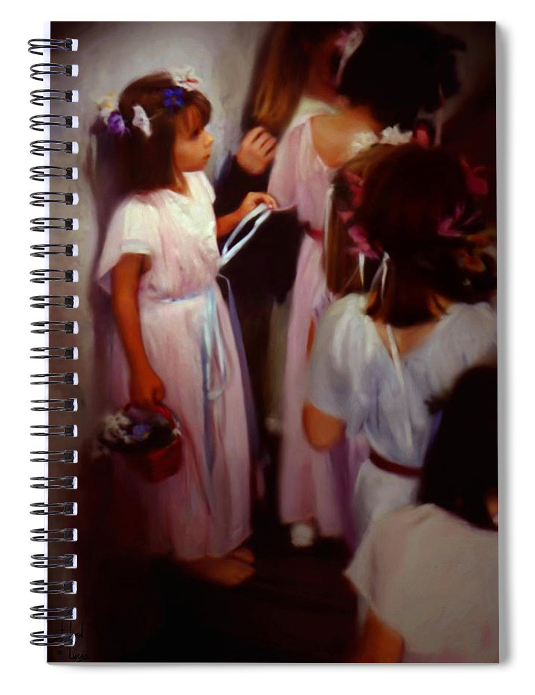 Children Spiral Notebook featuring the painting The Fisrt May Day Dance by Stephen Lucas