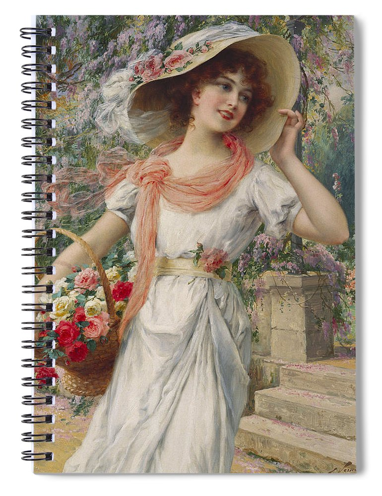 The Flower Girl (oil On Canvas) By Emile Vernon (1872-1919) Flower; Girl; Female; Three-quarter Length; Standing; Bonnet; Hat; Flowers; Selling; Vendor; Basket; Smiling; Carefree; Pretty Spiral Notebook featuring the painting The Flower Girl by Emile Vernon