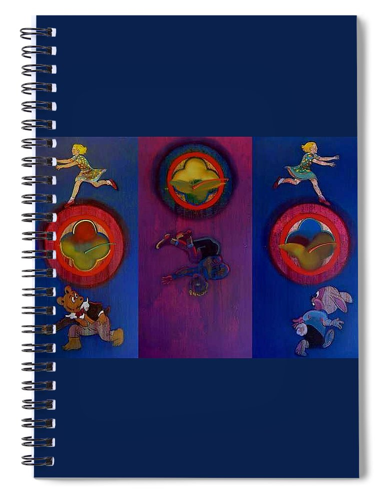 The Drums Of The Fruit Machine Stop At Random. Triptych Spiral Notebook featuring the painting The Fruit Machine Stops II by Charles Stuart