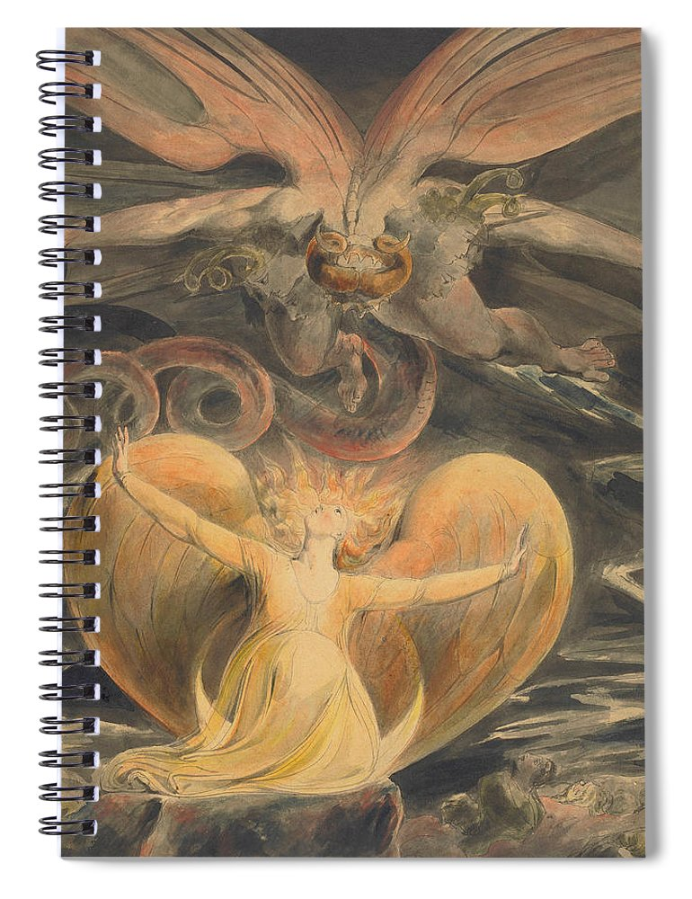 William Blake Spiral Notebook featuring the painting The Great Red Dragon And The Woman Clothed With The Sun by William Blake