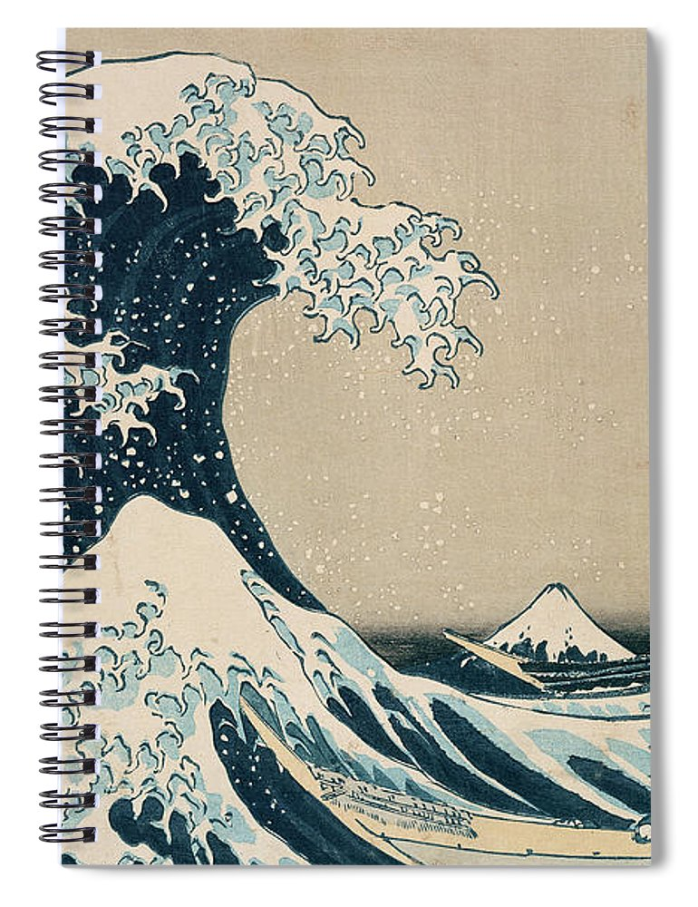 Wave Spiral Notebook featuring the painting The Great Wave of Kanagawa by Hokusai