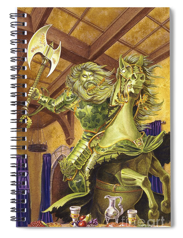 Fine Art Spiral Notebook featuring the painting The Green Knight by Melissa A Benson