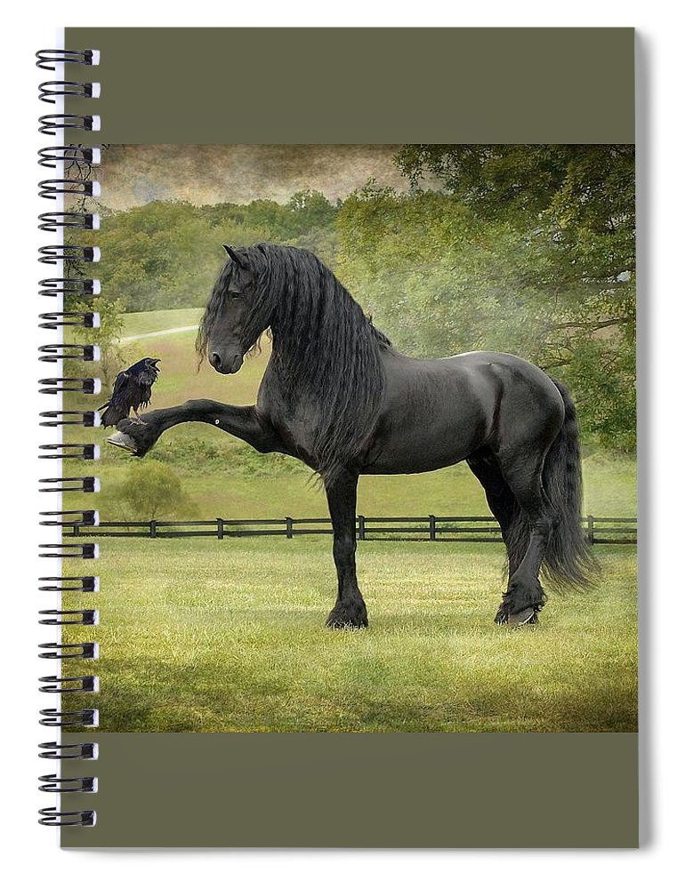 Friesian Horses Spiral Notebook featuring the photograph The Harbinger by Fran J Scott