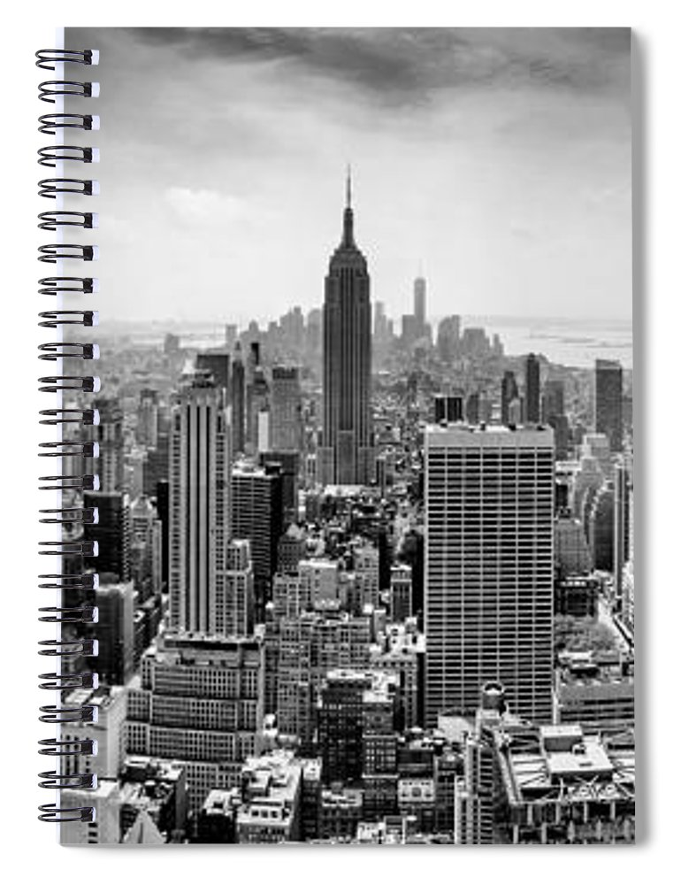 Empire State Building Spiral Notebook featuring the photograph New York City Skyline Bw 2 by Az Jackson