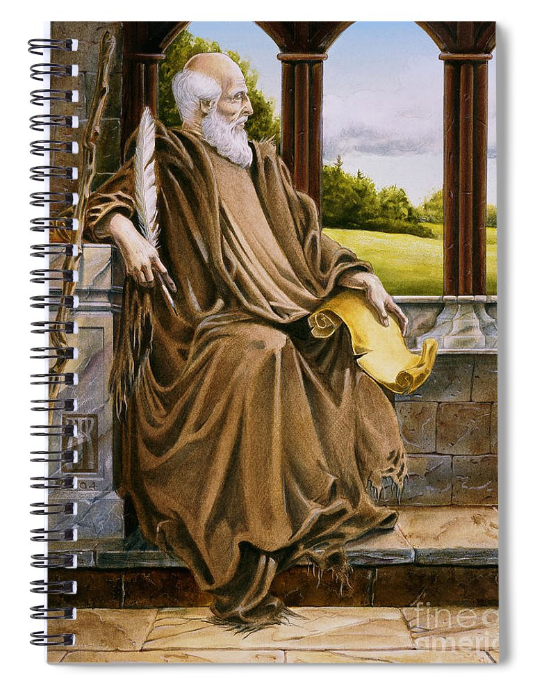 Wise Man Spiral Notebook featuring the painting The Hermit Nascien by Melissa A Benson