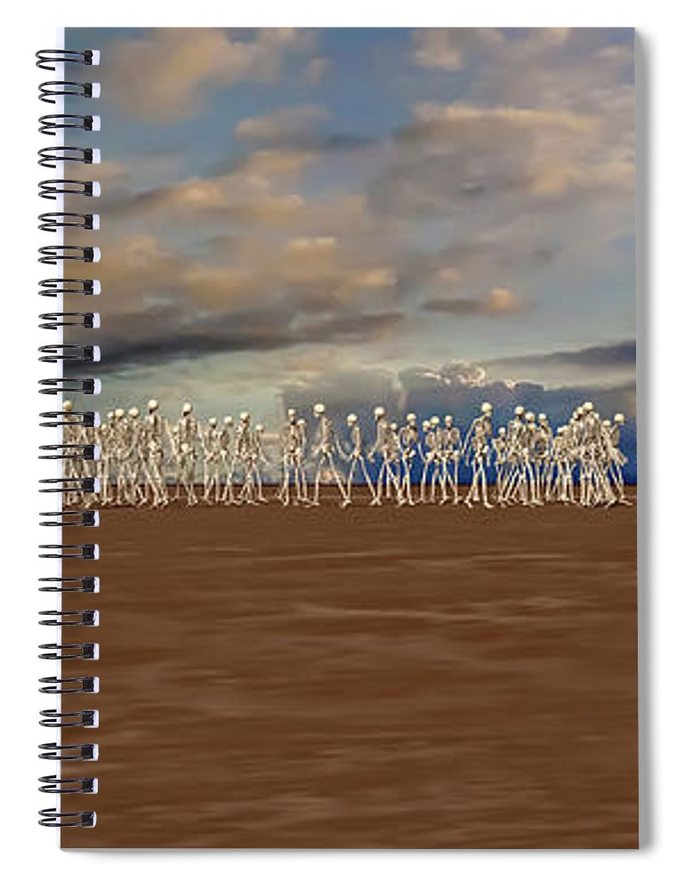 Skeleton Spiral Notebook featuring the digital art The Illusionist 2 by Betsy Knapp