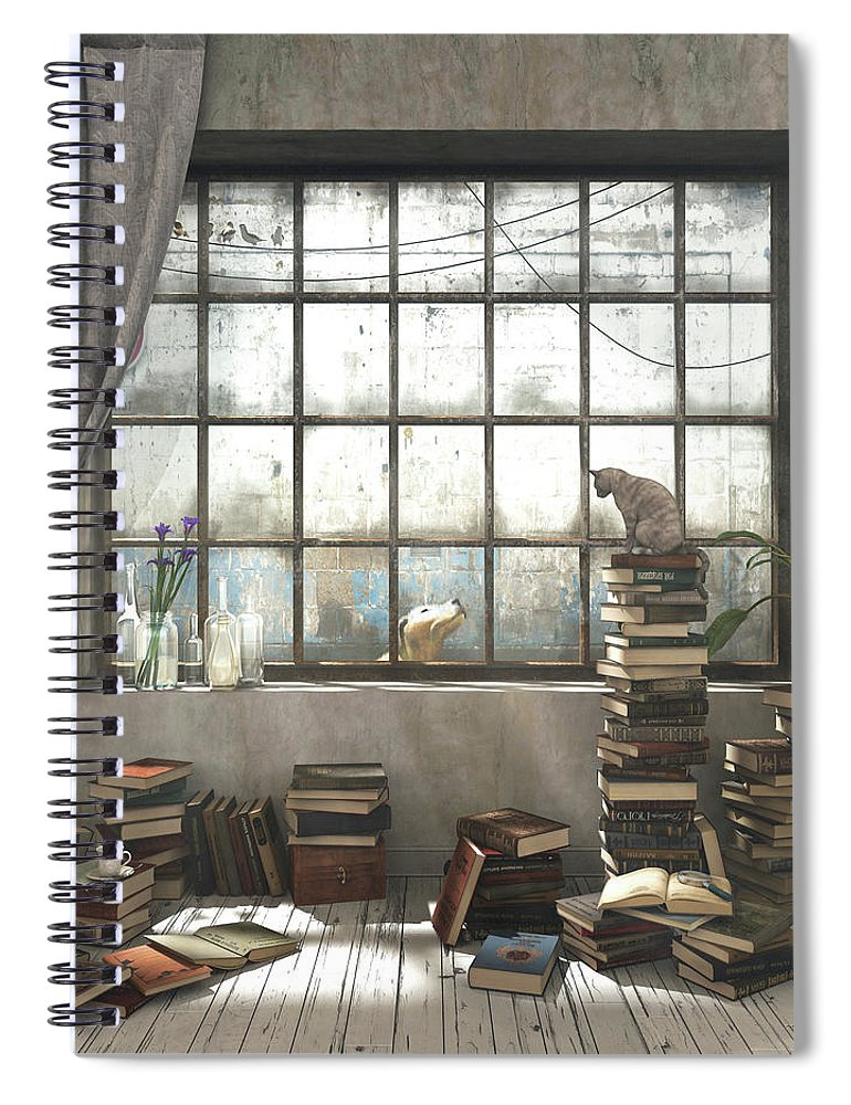 Books Spiral Notebook featuring the digital art The Introvert by Cynthia Decker