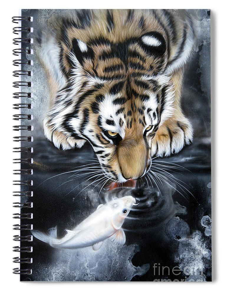 Koi Spiral Notebook featuring the painting The Kiss by Sandi Baker