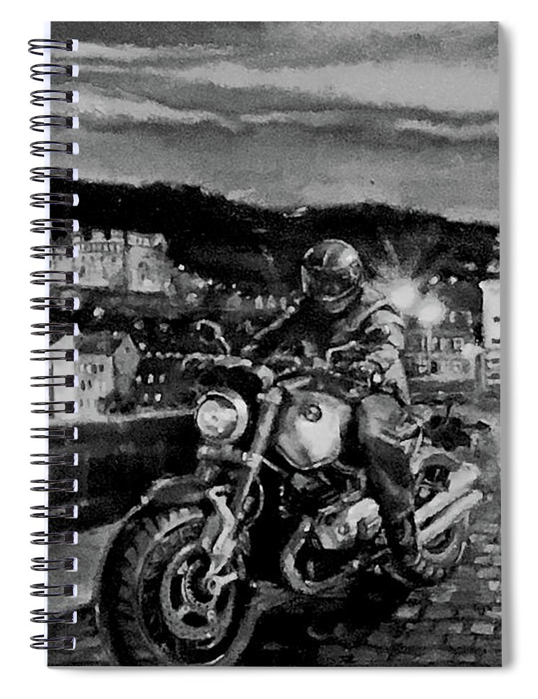 Black And White Spiral Notebook featuring the painting The Knight of Heidelberg-Black and White Version by BJ Lane
