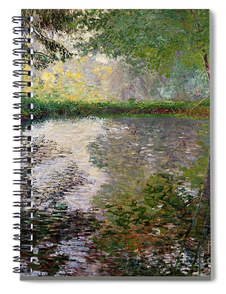 The Lake At Montgeron By Claude Monet (1840-1926) Spiral Notebook featuring the painting The Lake at Montgeron by Claude Monet