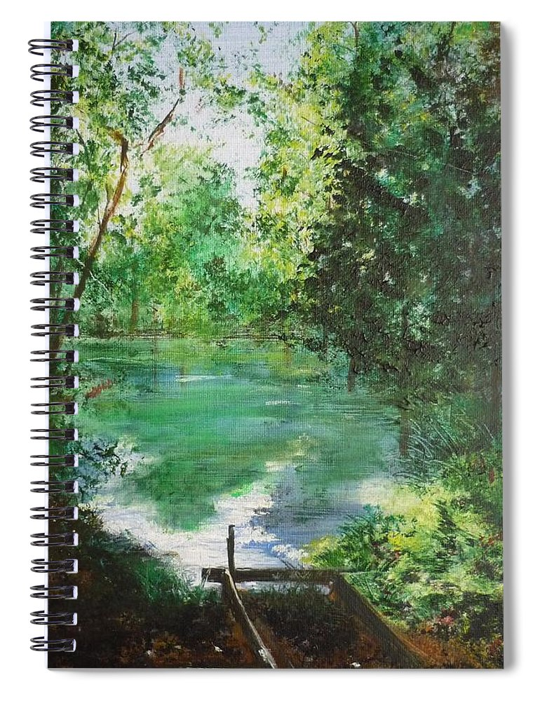 Lake Spiral Notebook featuring the painting The Lake At Stansted Unfinished by Lizzy Forrester