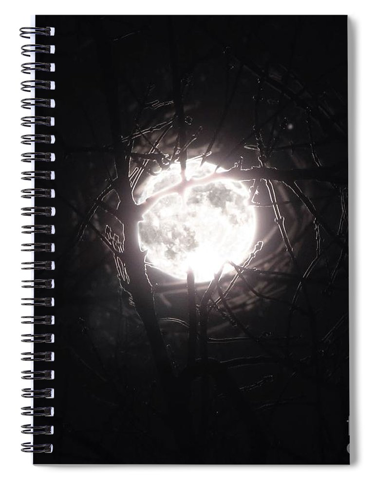 Night Spiral Notebook featuring the photograph The Last Nights Moon by September Stone