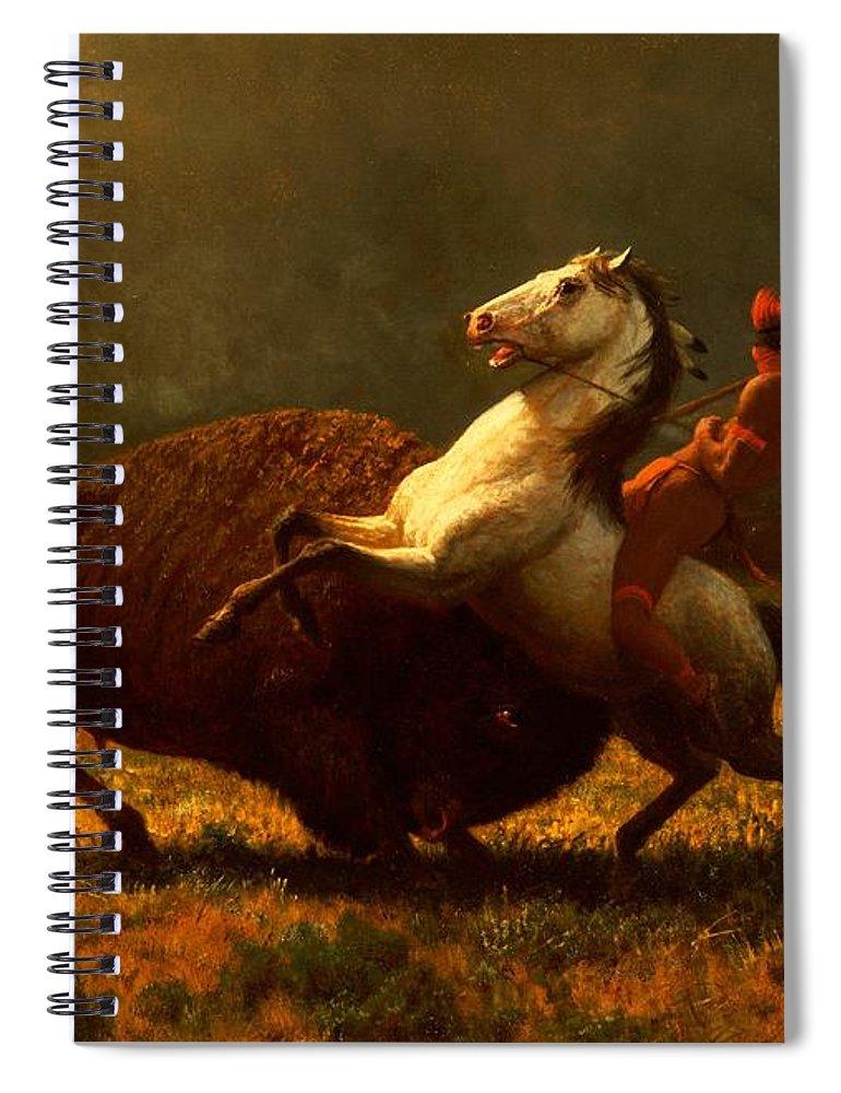 Albert Bierstadt Spiral Notebook featuring the painting The Last of the Buffalo by Albert Bierstadt