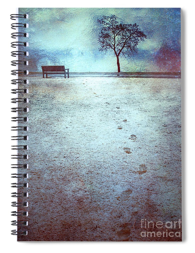 Bench Spiral Notebook featuring the photograph The Last Snowfall by Tara Turner