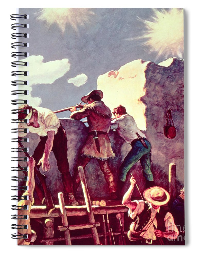 Alamo Spiral Notebook featuring the painting The Last Stand At The Alamo by Newell Convers Wyeth