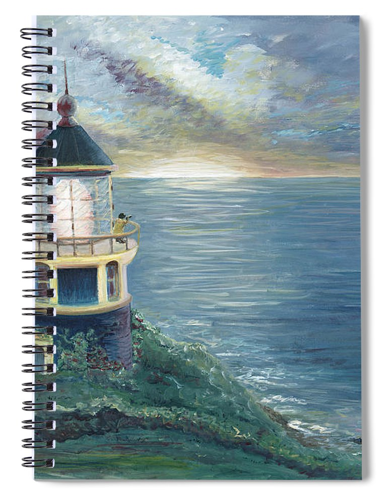Lighthouse Spiral Notebook featuring the painting The Lighthouse by Nadine Rippelmeyer