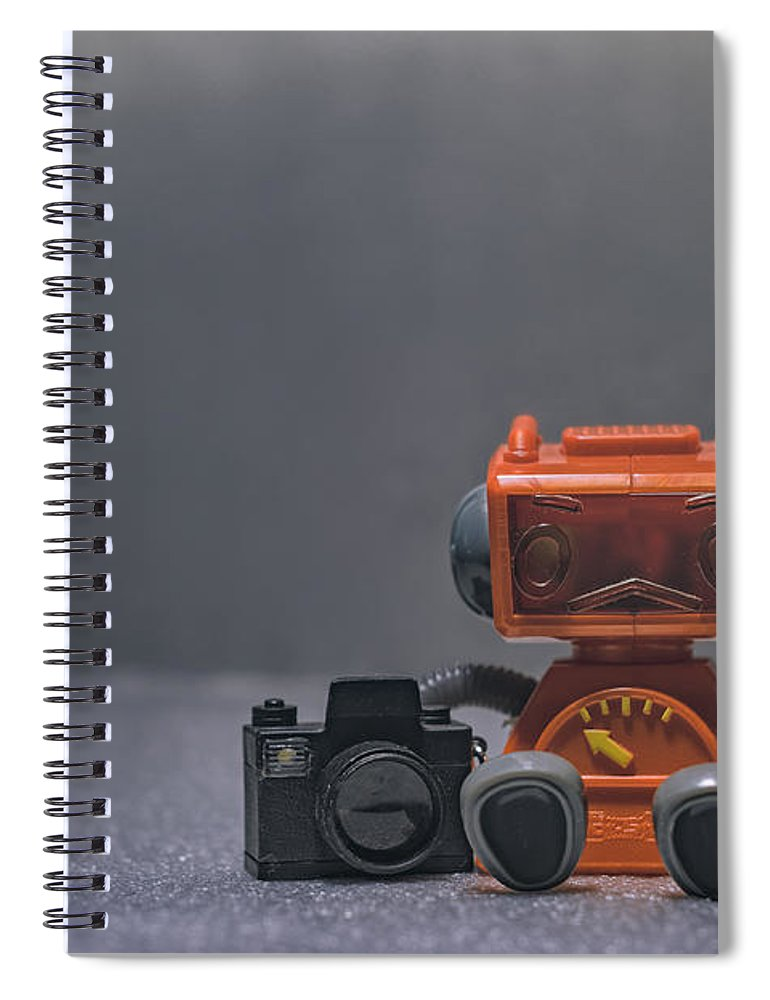 Toy Robot Spiral Notebook featuring the photograph The Lonely Robot Photographer by Scott Norris