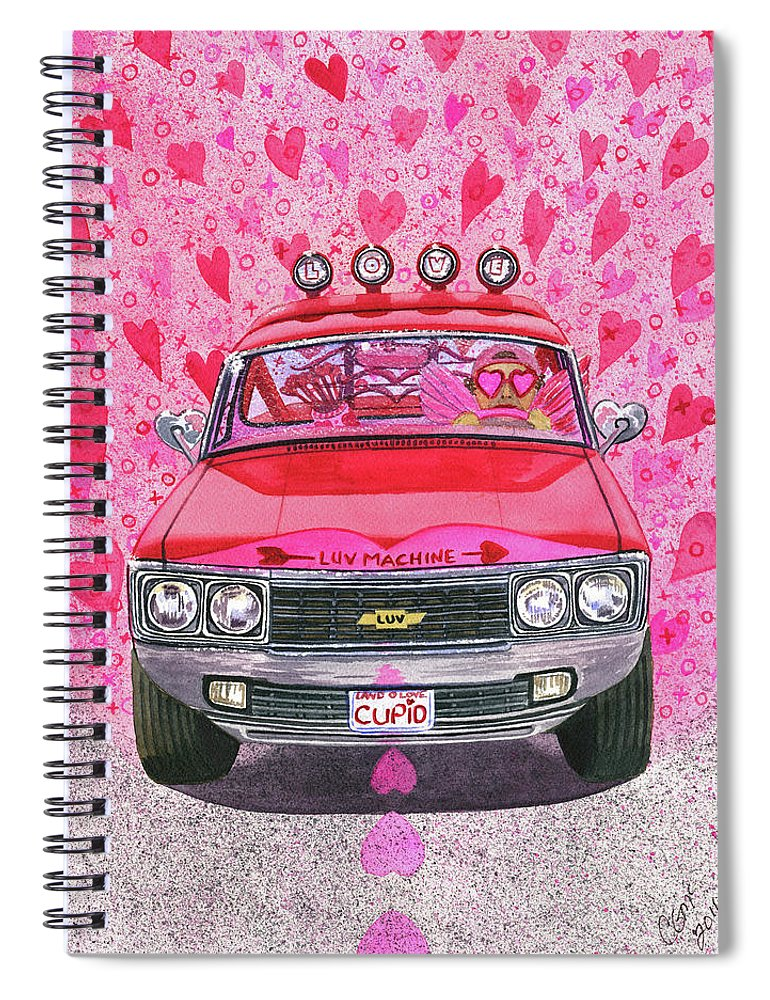Luv Spiral Notebook featuring the painting The Luv Machine by Catherine G McElroy