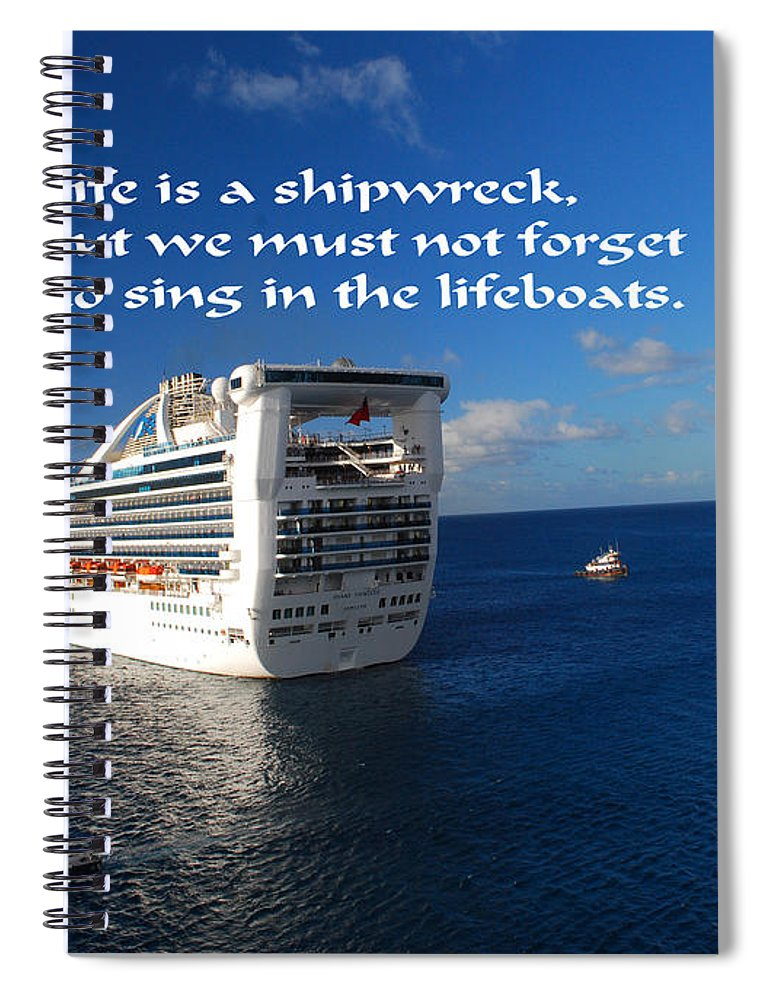 Ship Spiral Notebook featuring the photograph The Meaning Of Life by Gary Wonning