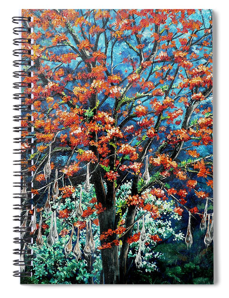 Tree Painting Mountain Painting Floral Painting Caribbean Painting Original Painting Of Immortelle Tree Painting  With Nesting Corn Oropendula Birds Painting In Northern Mountains Of Trinidad And Tobago Painting Spiral Notebook featuring the painting The Mighty Immortelle by Karin Dawn Kelshall- Best