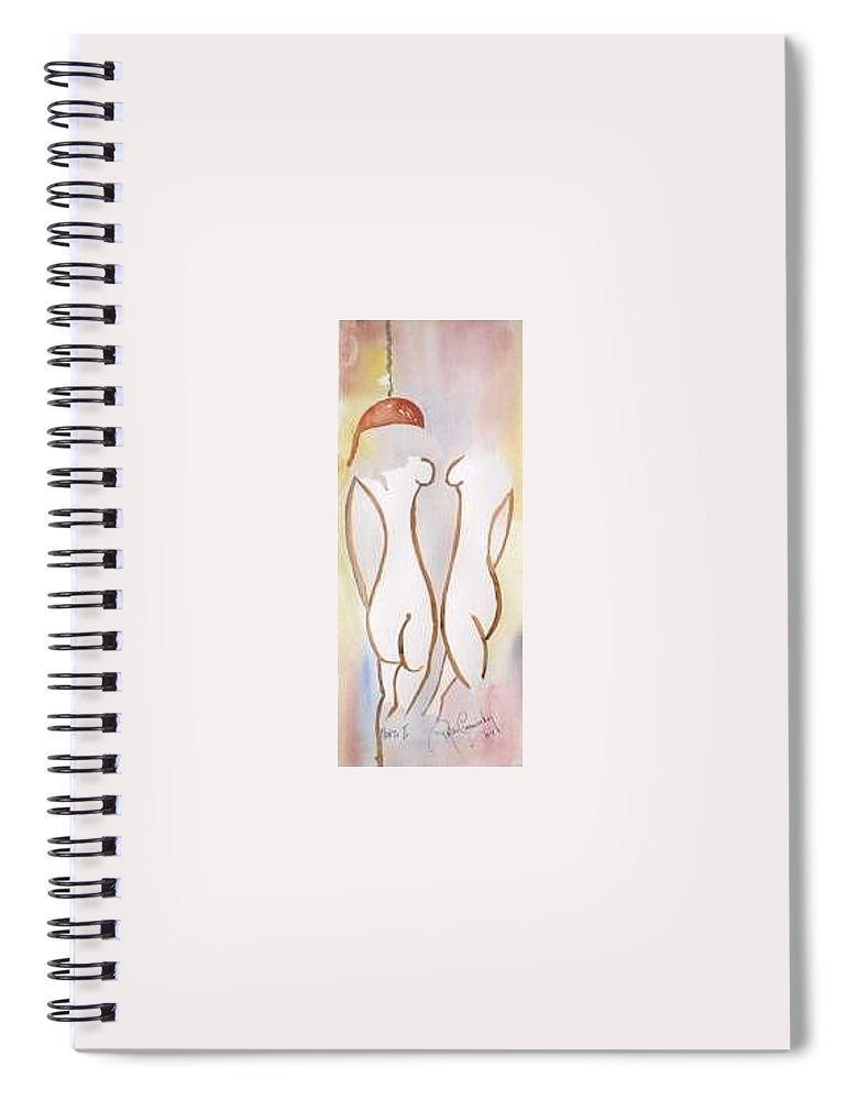 Coalquay Whores Florrie Zoe James Joyce Ulysses Spiral Notebook featuring the painting The Monto Two by Roger Cummiskey