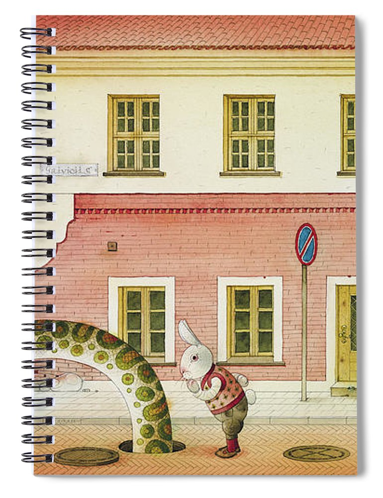 Snake Street Illustration Watercolor Children Book Old Town Rabbit Spiral Notebook featuring the painting The Neighbor around the Corner04 by Kestutis Kasparavicius