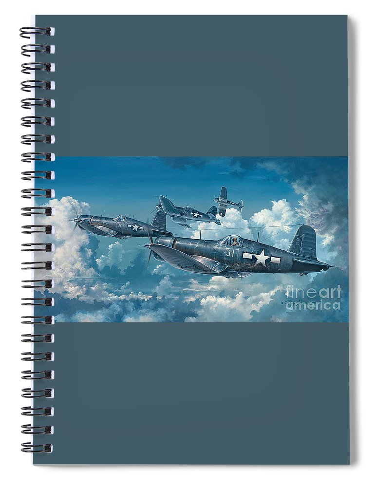 Wwii Spiral Notebook featuring the painting The Old Breed by Randy Green