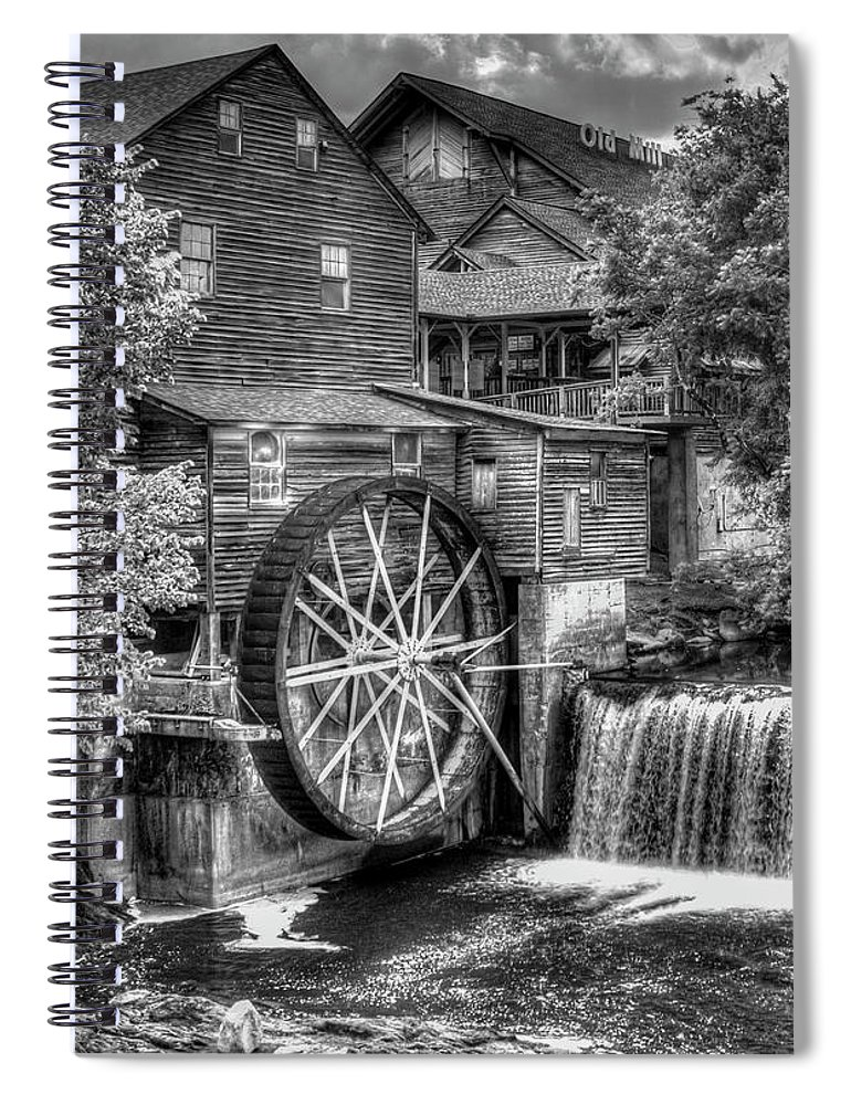 The Old Mill Spiral Notebook featuring the photograph The Old Mill B W The Pigeon Forge Mill Art Great Smoky Mountains Art by Reid Callaway