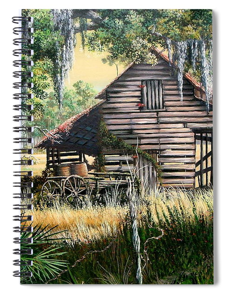Florida Spiral Notebook featuring the painting Old Floridaturpentine Barn-a Florida Memory by Daniel Butler