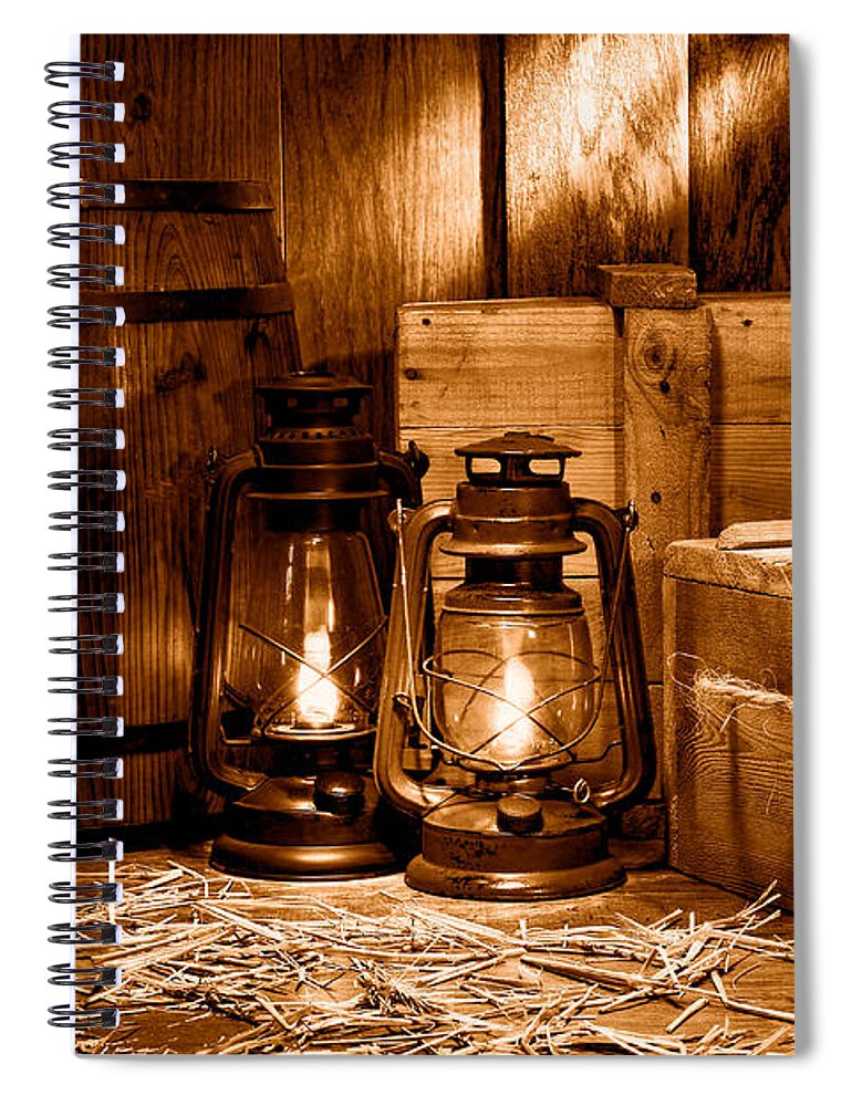 Americana Spiral Notebook featuring the photograph The Old Warehouse - Sepia by Olivier Le Queinec