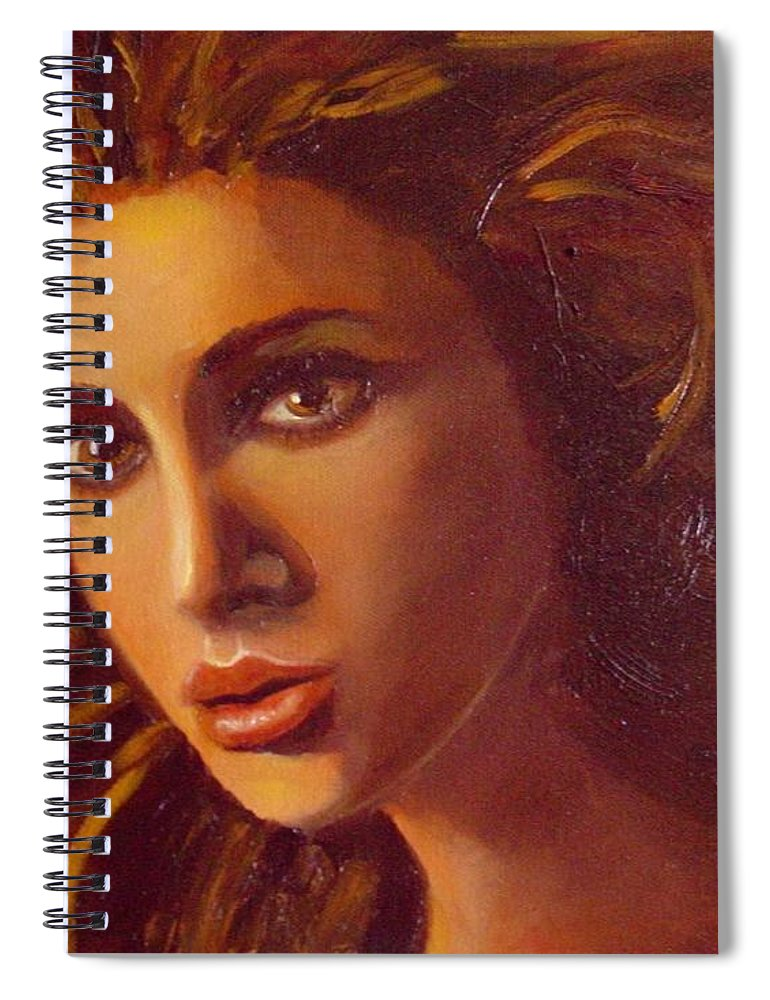 Portrait Spiral Notebook featuring the painting The Oracle by Laurie Morgan