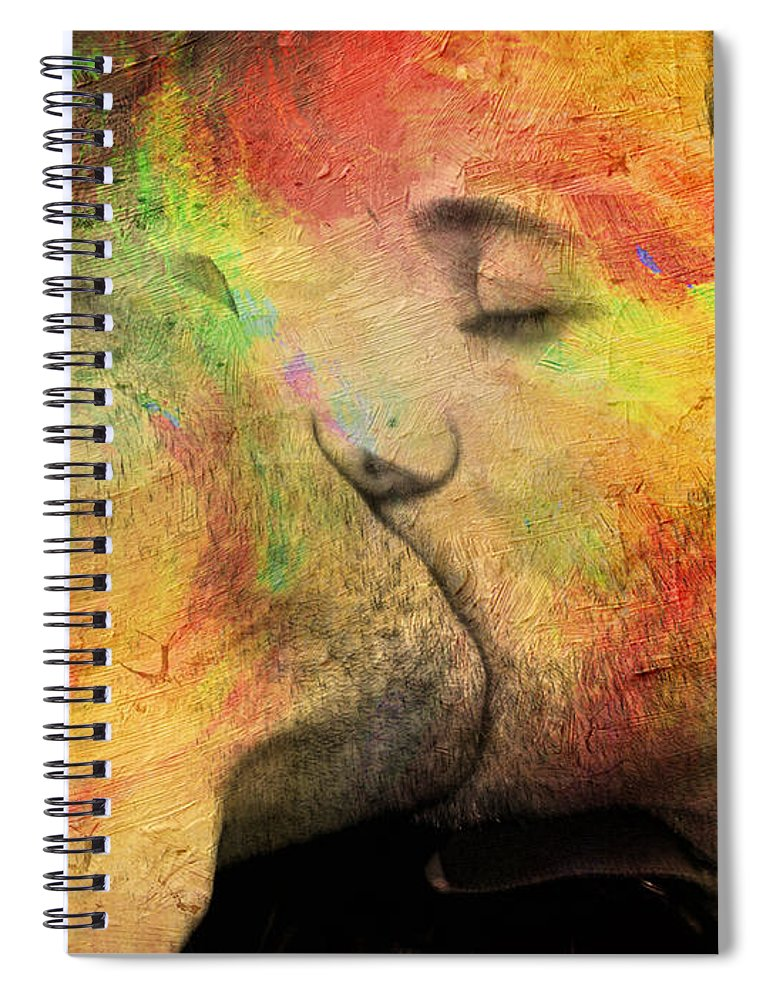 Kiss Spiral Notebook featuring the painting The Passion Of A Kiss 1 by Mark Ashkenazi