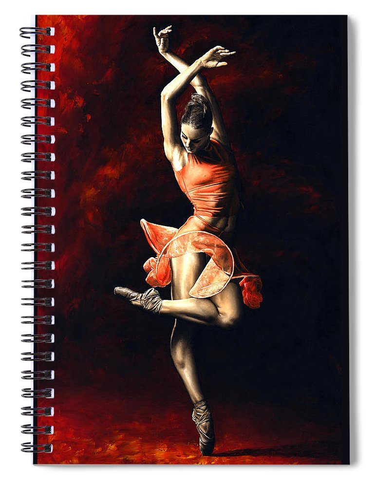 Dancer Spiral Notebook featuring the painting The Passion Of Dance by Richard Young