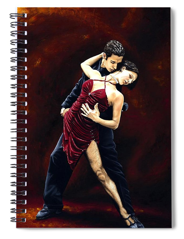 Tango Spiral Notebook featuring the painting The Passion of Tango by Richard Young