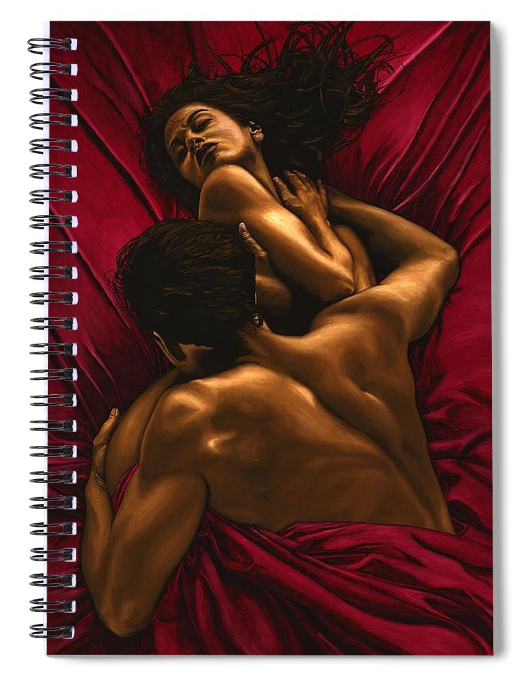 Nude Spiral Notebook featuring the painting The Passion by Richard Young