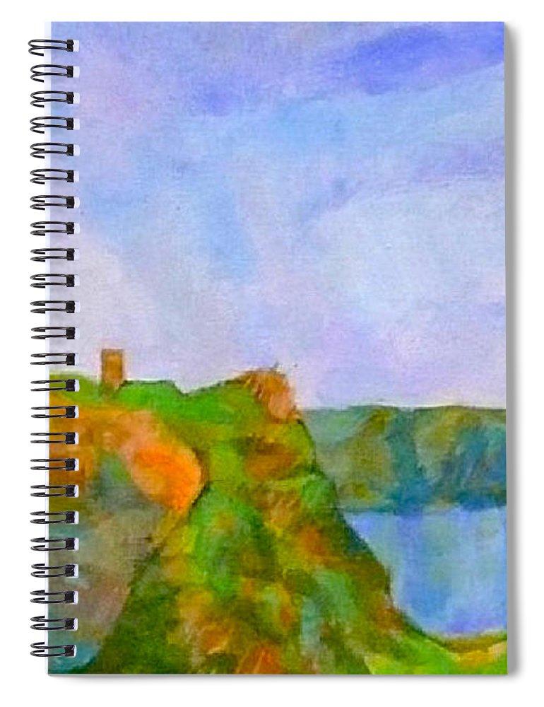Pepper Pot Portreath Cornwall Spiral Notebook featuring the digital art The Pepper Pot by Scott Waters