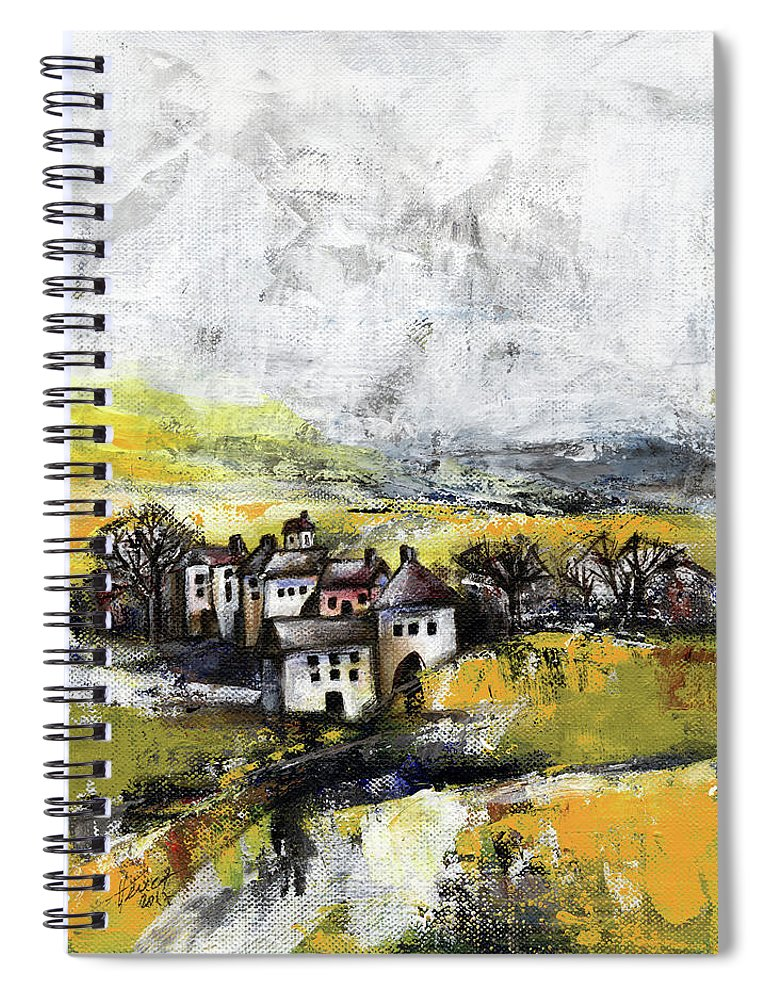 Landscape Spiral Notebook featuring the painting The pink house by Aniko Hencz