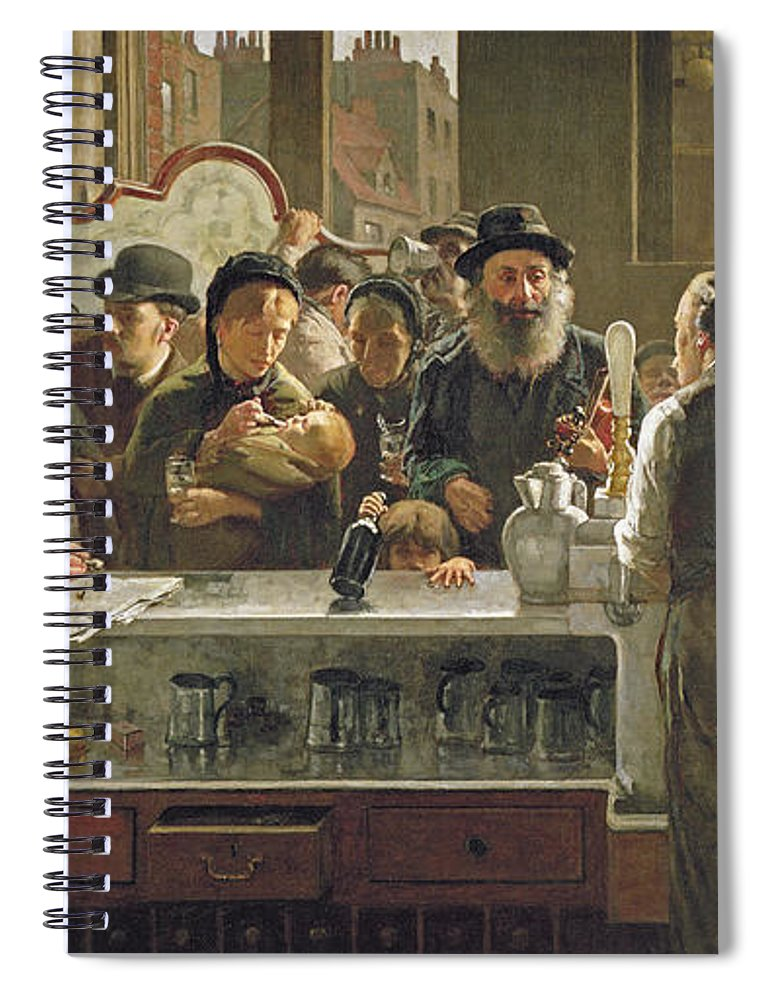 Drinking;drink;social;pub;landlord;barman;barmen Spiral Notebook featuring the painting The Public Bar by John Henry Henshall