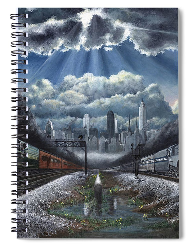 Trains Spiral Notebook featuring the painting The Race by David Mittner