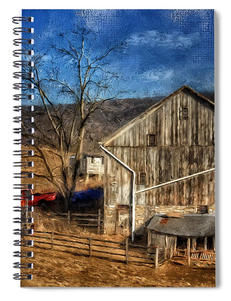 Barn Spiral Notebook featuring the digital art The Red Truck By The Barn by Lois Bryan