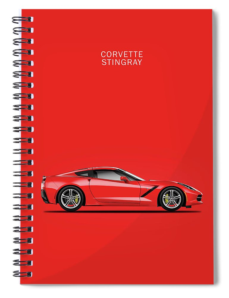Corvette Stingray Spiral Notebook featuring the photograph The Red Vette by Mark Rogan