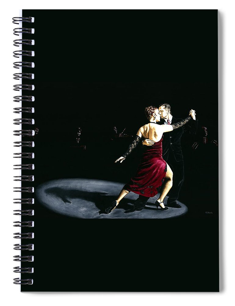 Tango Spiral Notebook featuring the painting The Rhythm of Tango by Richard Young