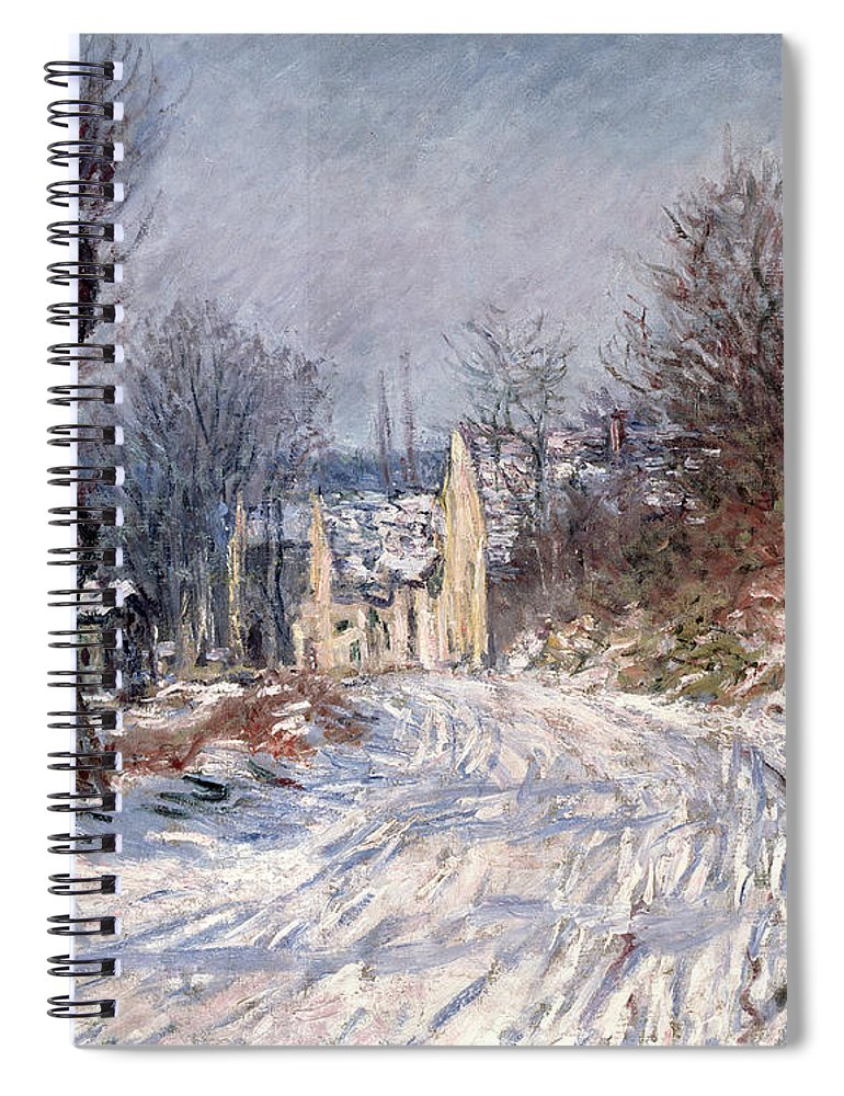 The Spiral Notebook featuring the painting The Road To Giverny In Winter by Claude Monet