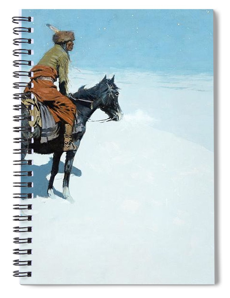 The Scout Spiral Notebook featuring the painting The Scout Friends Or Foes by Frederic Remington