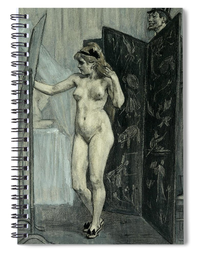 Felicien Rops Spiral Notebook featuring the drawing The Screen by Felicien Rops